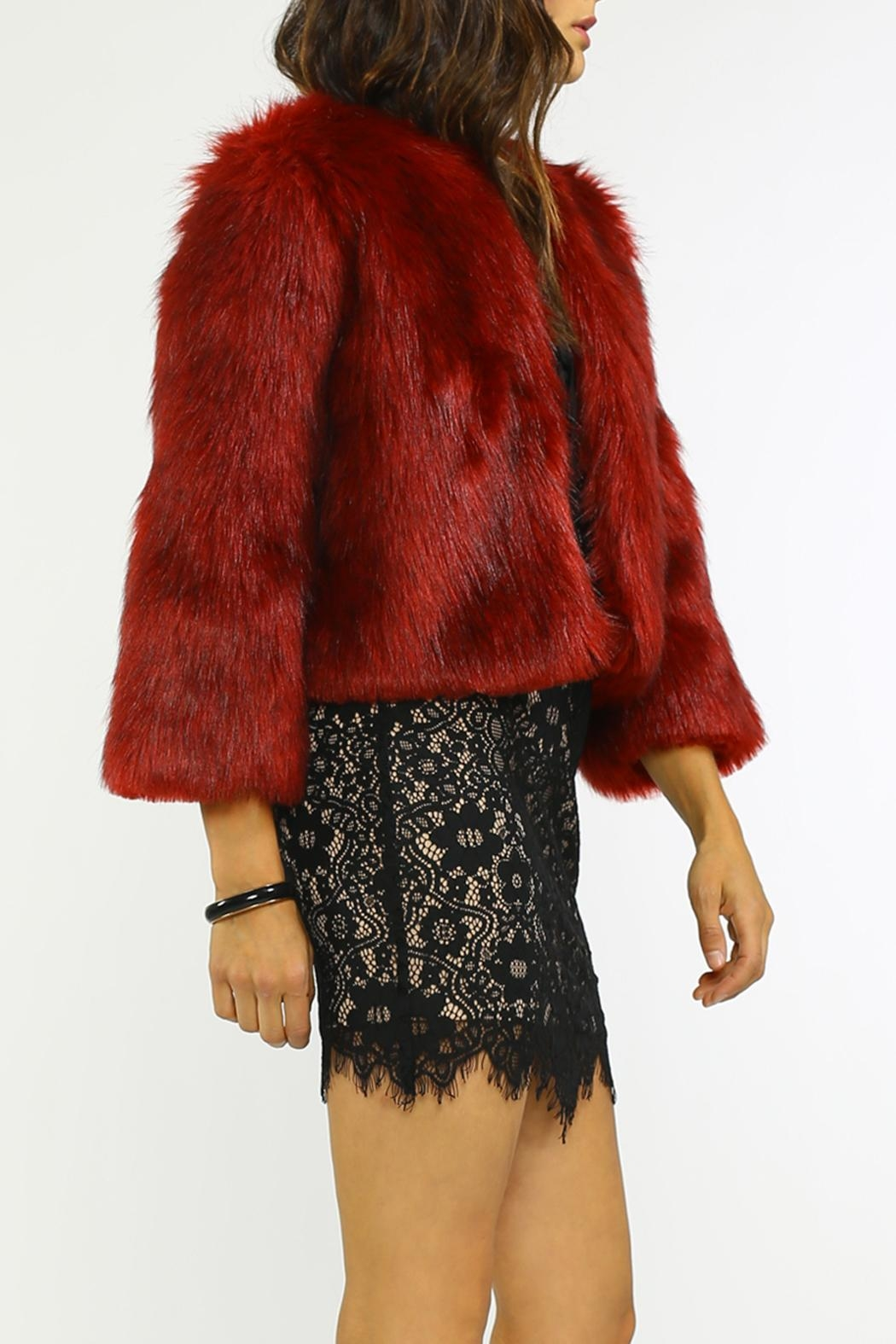 Jealous Tomato Fur Cocktail Jacket - Side Cropped Image