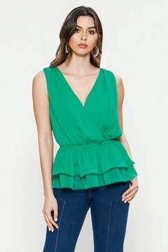 Jealous Tomato Green Layered Top - Product List Image