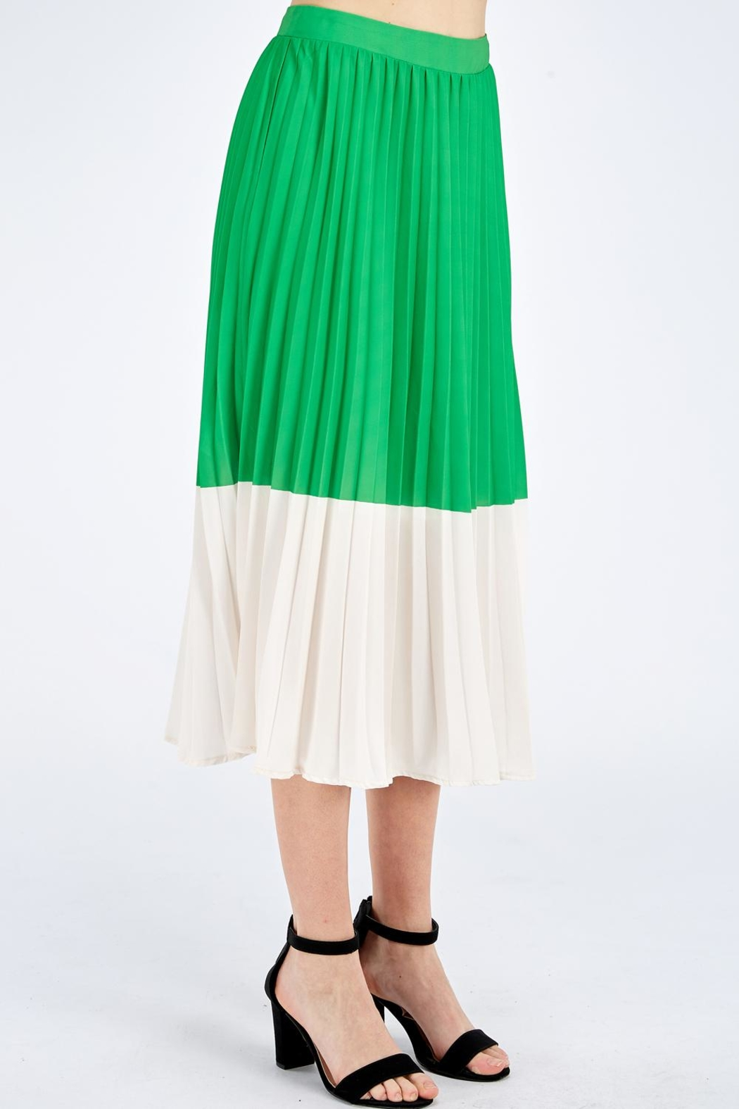 Jealous Tomato Green Pleated Skirt - Side Cropped Image