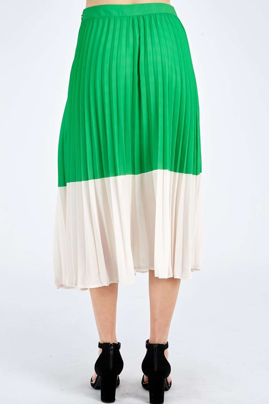 Jealous Tomato Green Pleated Skirt - Back Cropped Image