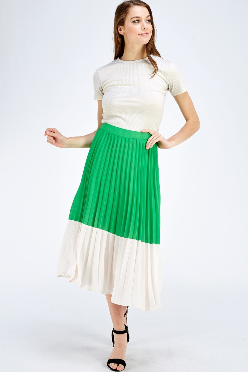 Jealous Tomato Green Pleated Skirt - Front Full Image