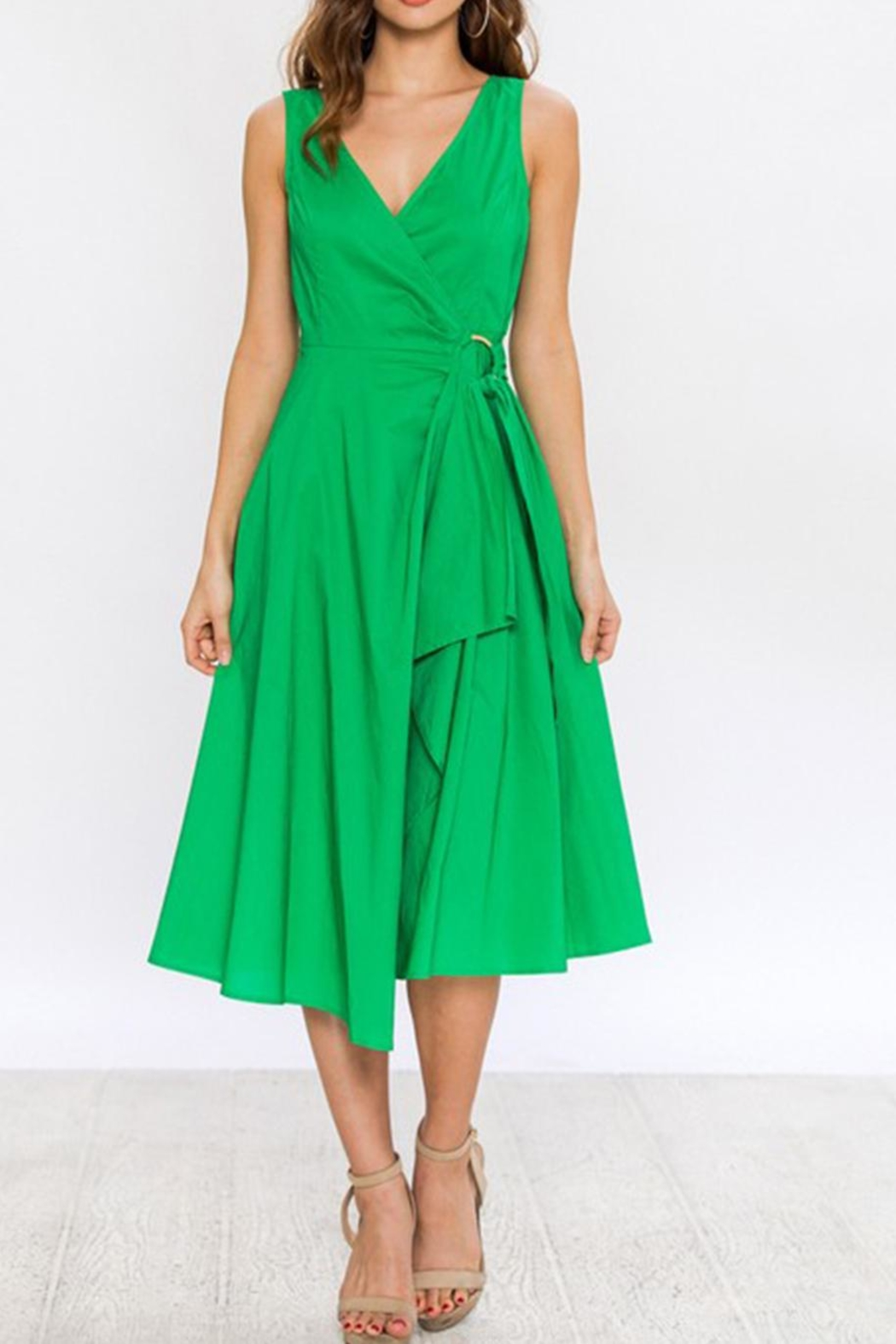 Jealous Tomato Green Wrap Dress - Front Cropped Image
