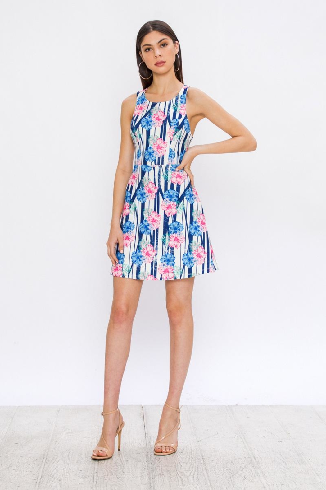 Jealous Tomato Hibiscus Summer Dress - Side Cropped Image