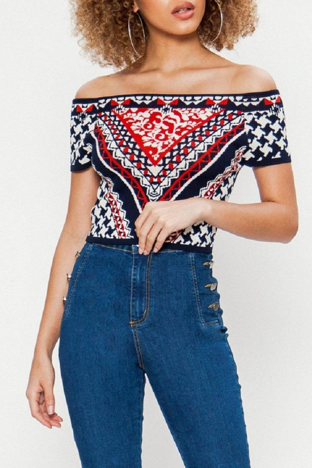 Jealous Tomato Knitted Crop Top - Front Full Image