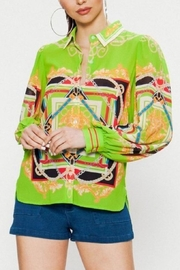 Jealous Tomato Lime Baroque Blouse - Product Mini Image