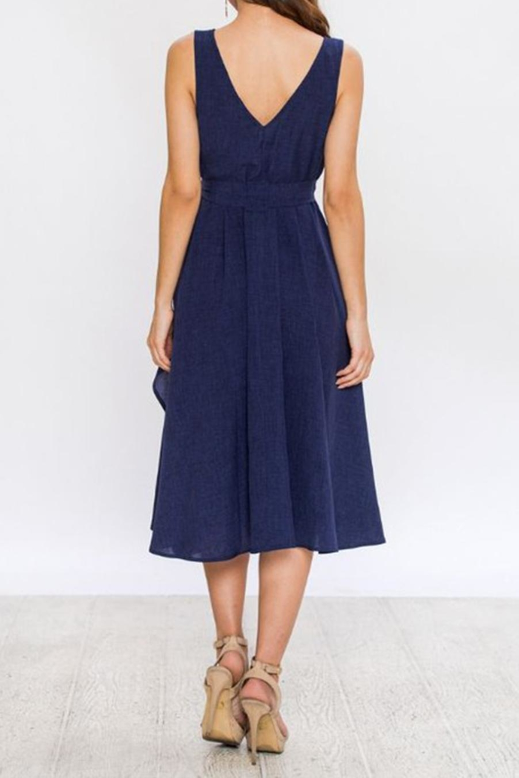 Jealous Tomato Navy Wrap Dress - Back Cropped Image