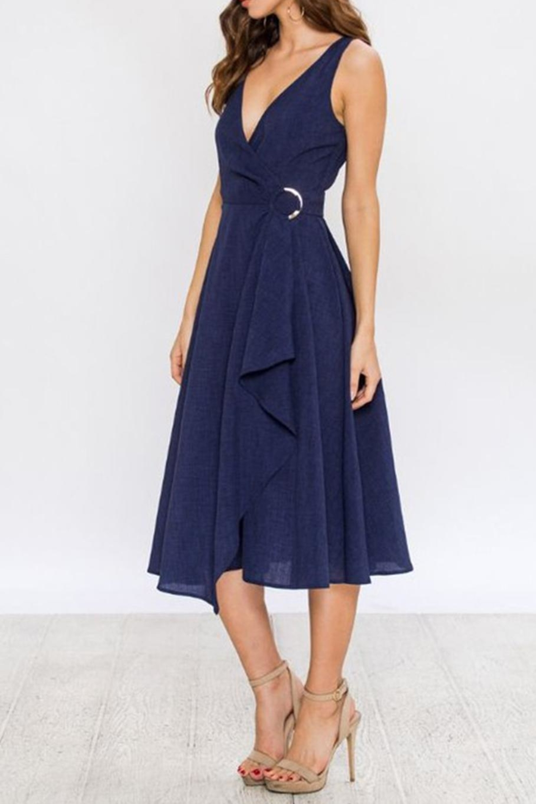 Jealous Tomato Navy Wrap Dress - Front Full Image