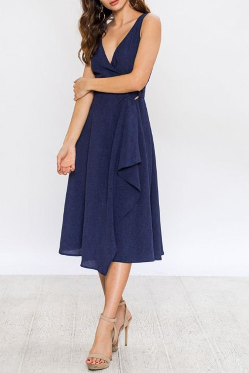 Jealous Tomato Navy Wrap Dress - Side Cropped Image