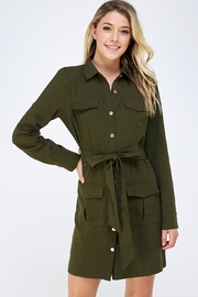 Jealous Tomato Olive Shirt Dress - Product Mini Image