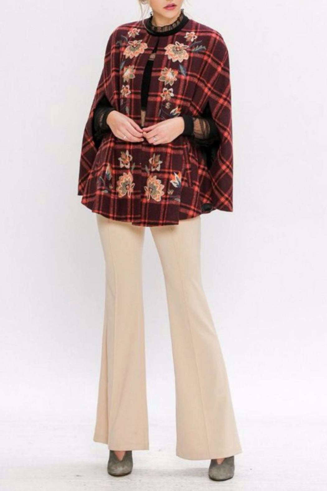 Jealous Tomato Plaid Embroidered Cape - Side Cropped Image