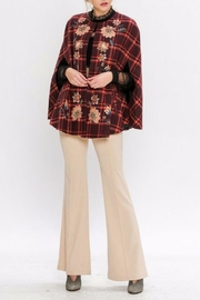 Jealous Tomato Plaid Embroidered Cape - Side cropped