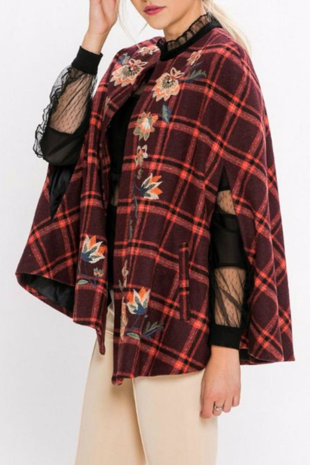 Jealous Tomato Plaid Embroidered Cape - Front Full Image
