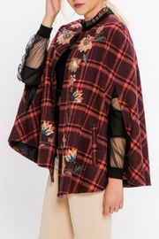 Jealous Tomato Plaid Embroidered Cape - Front full body