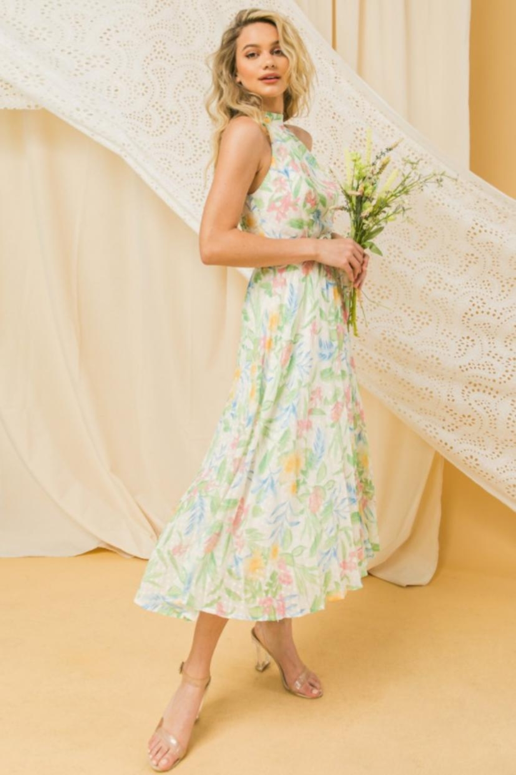 Jealous Tomato Pleated Floral Dress - Front Full Image