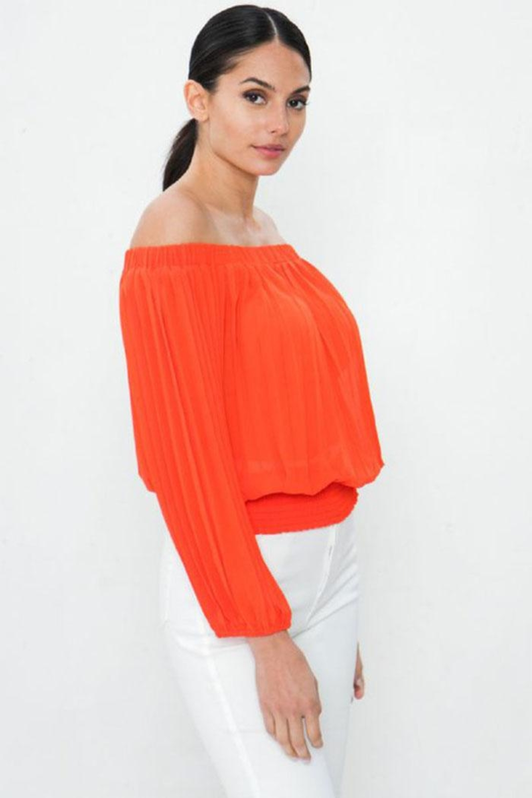Jealous Tomato Pleated Off-The-Shoulder Top - Front Full Image