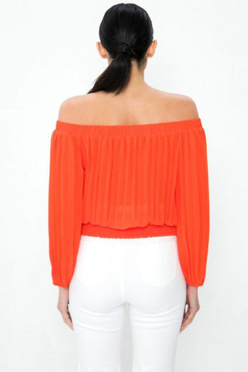 Jealous Tomato Pleated Off-The-Shoulder Top - Side Cropped Image
