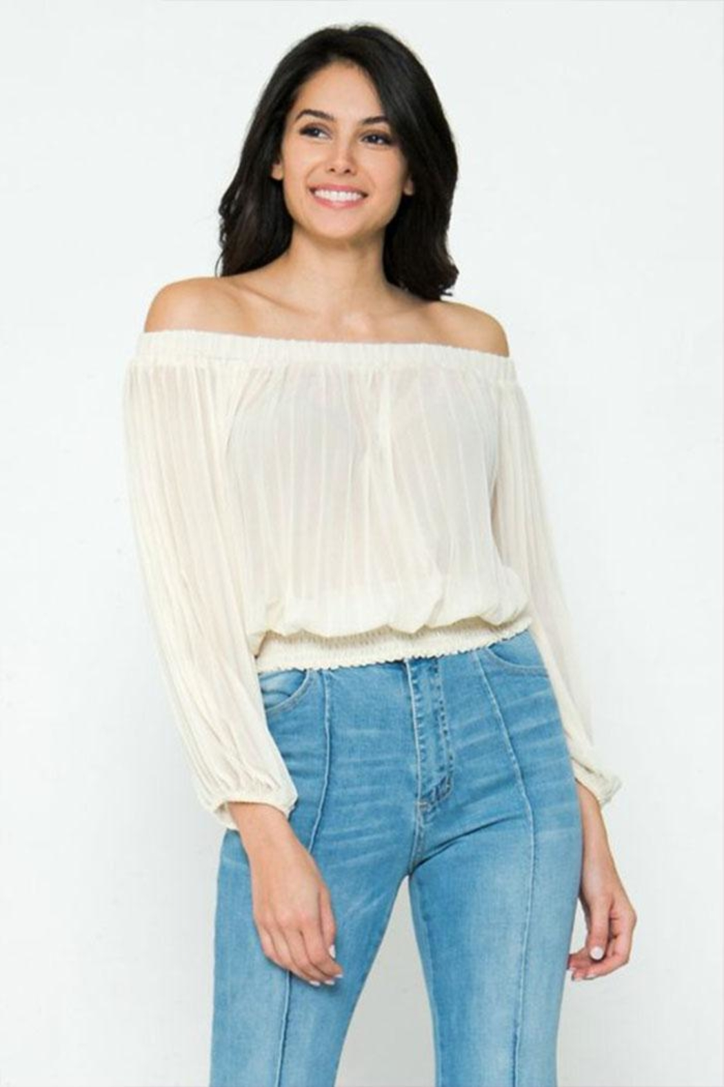 Jealous Tomato Pleated Off-The-Shoulder Top - Front Cropped Image