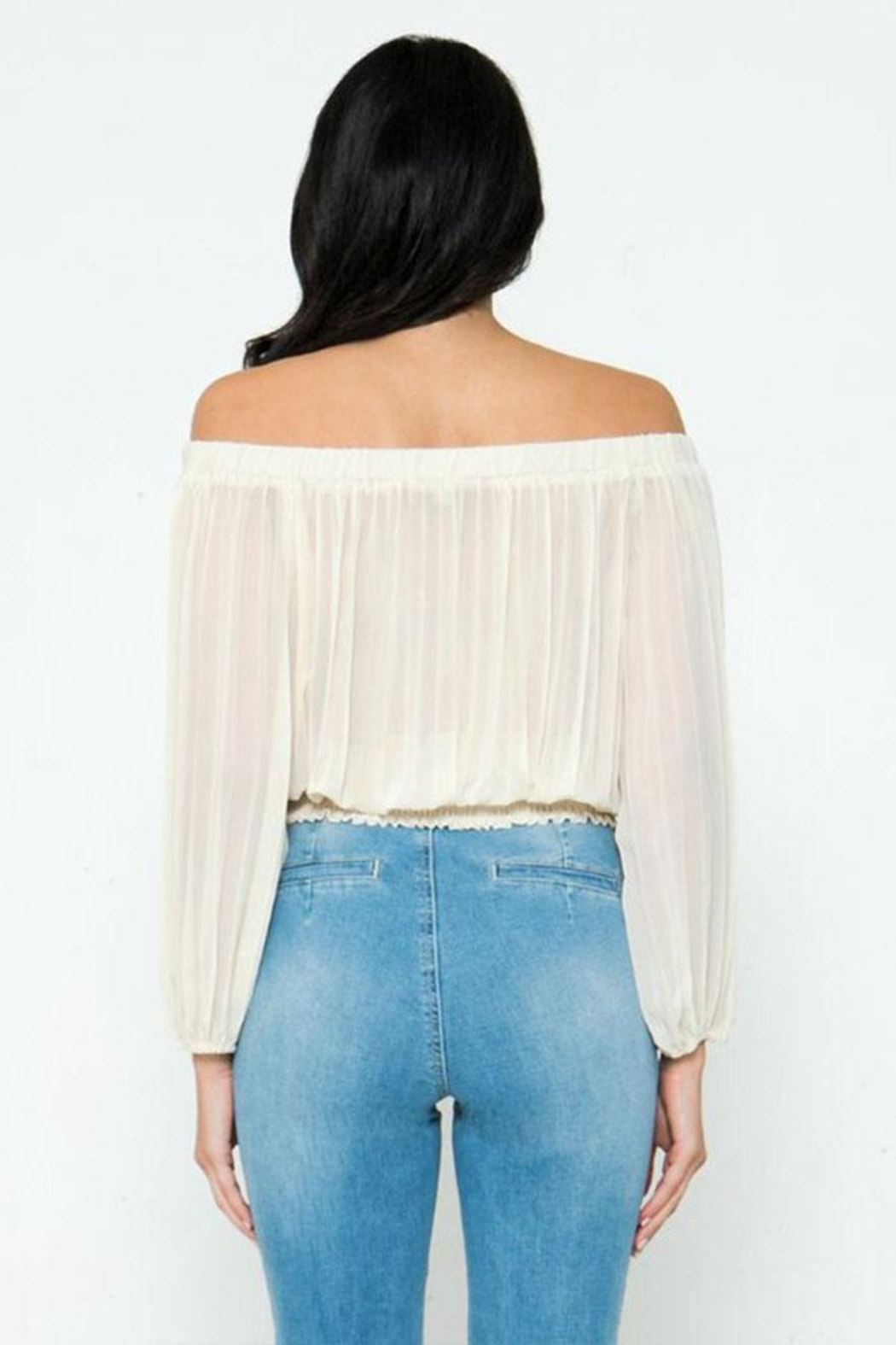 Jealous Tomato Pleated Off-The-Shoulder Top - Back Cropped Image