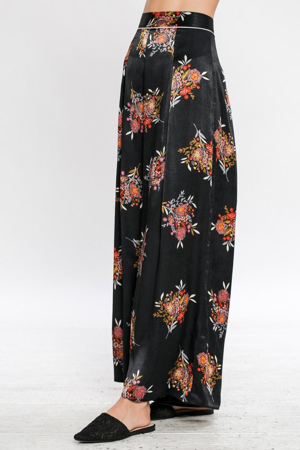 Jealous Tomato Printed Wide Leg Pants - Back Cropped Image