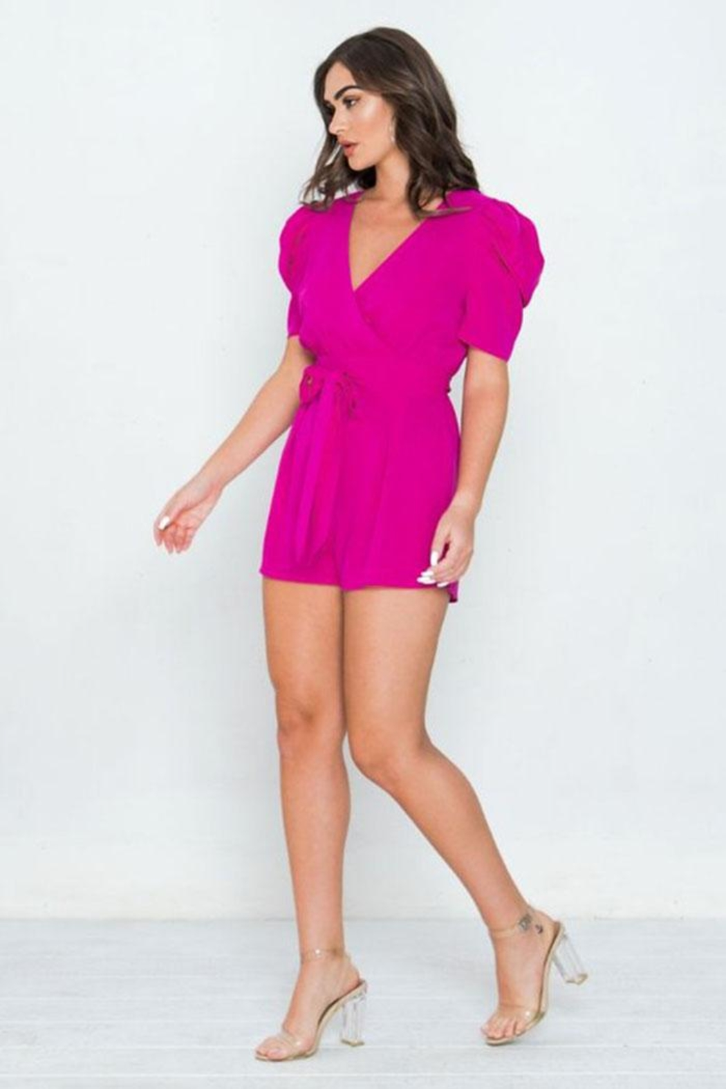 Jealous Tomato Puff Sleeve Romper - Side Cropped Image