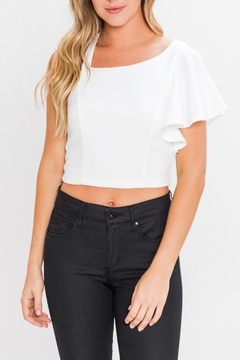 Shoptiques Product: Ruffle Sleeve Crop Top