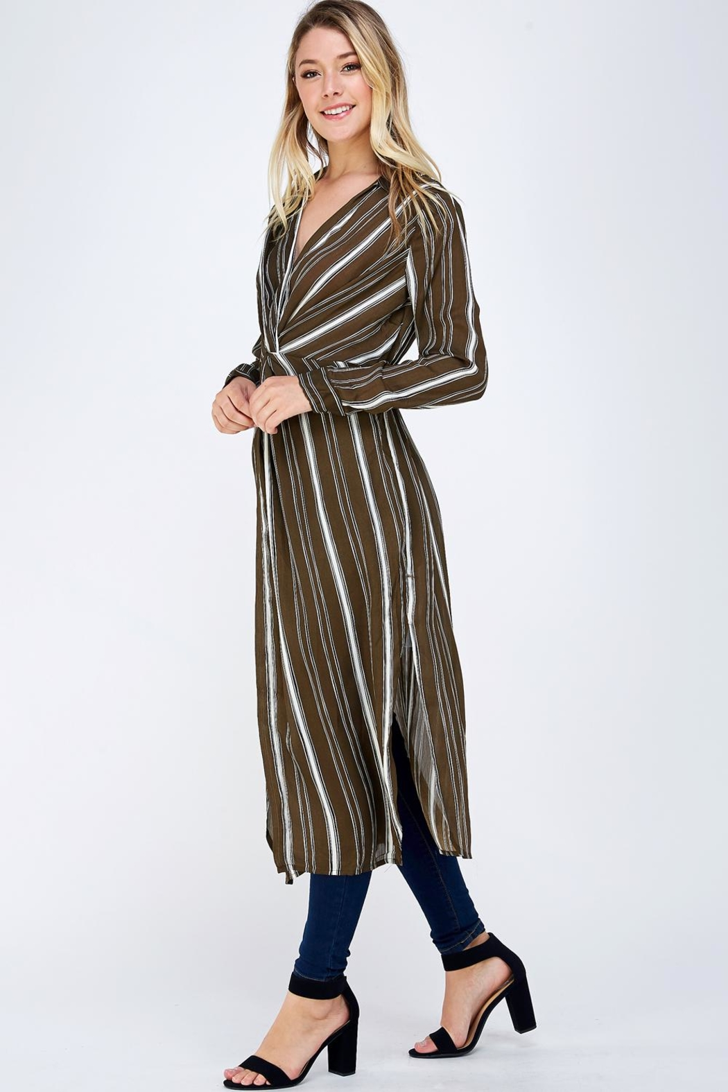 Jealous Tomato Stripe Duster Top - Side Cropped Image