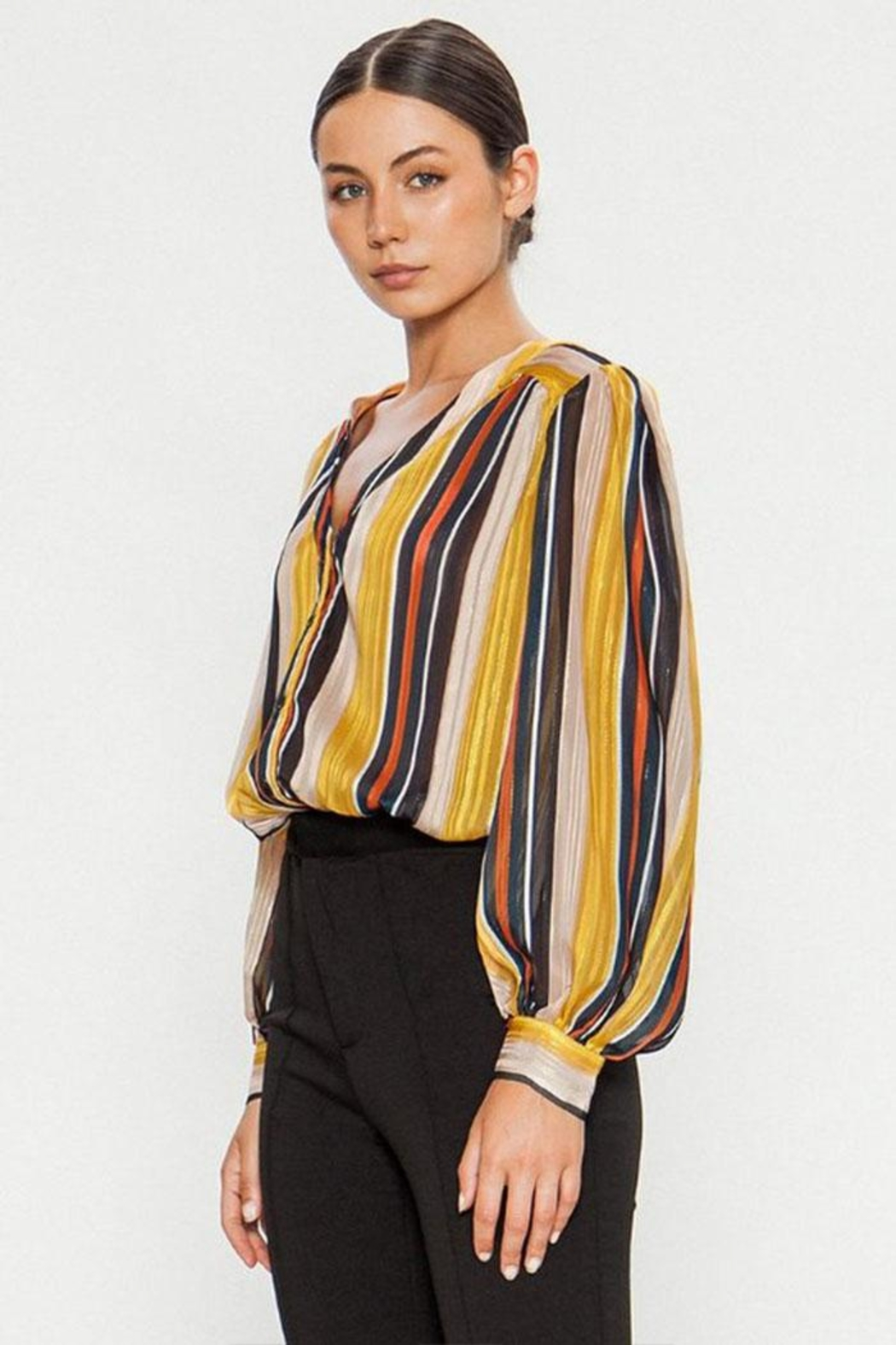 Jealous Tomato Striped Button Blouse - Side Cropped Image