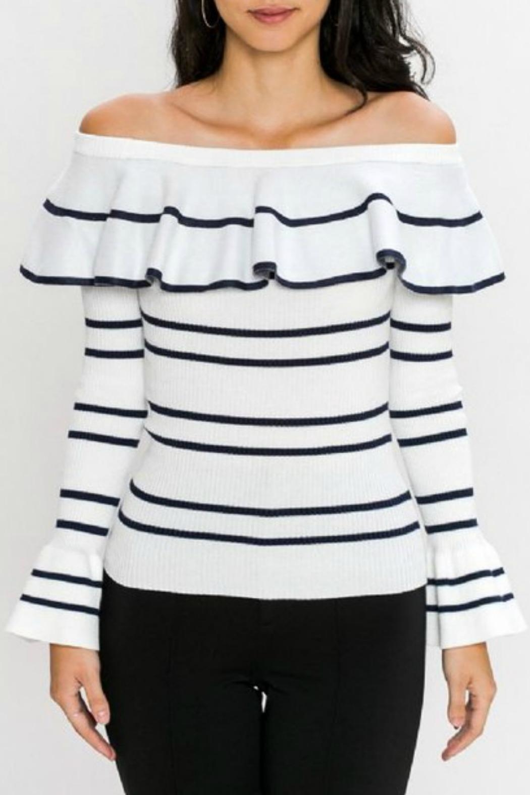 Jealous Tomato Stripped Ruffle Off-The-Shoulder - Main Image
