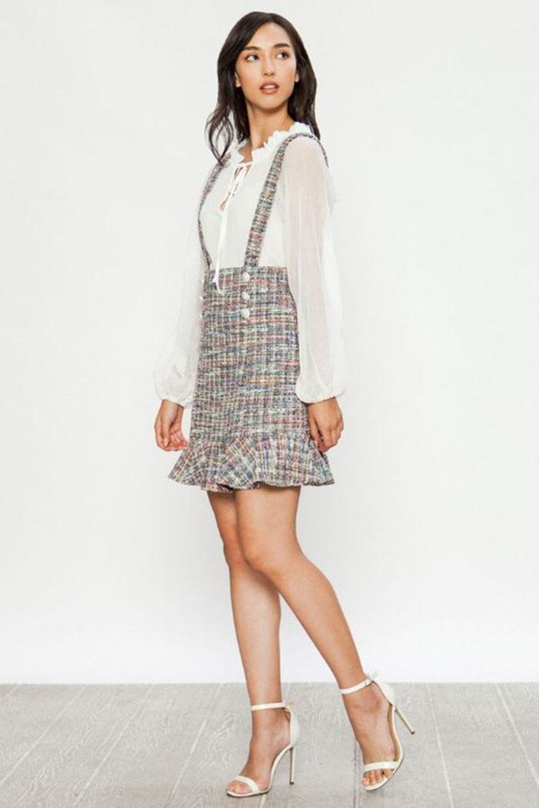 Jealous Tomato Tweed Overall Skirt - Side Cropped Image
