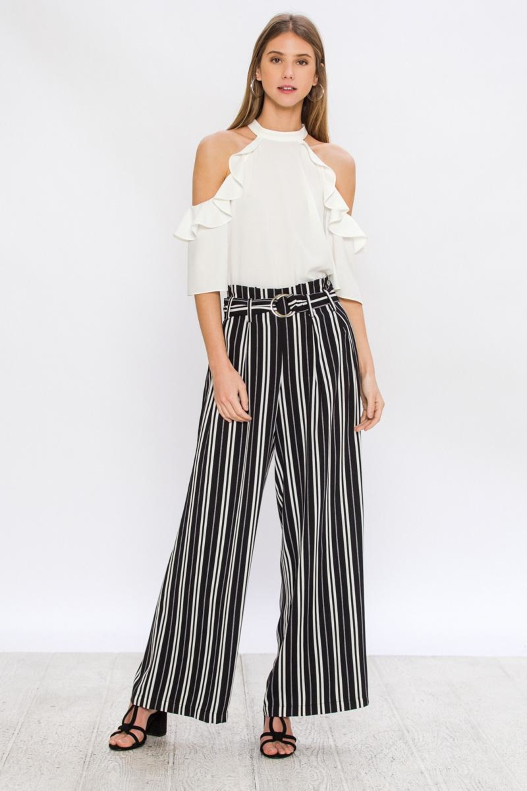 Jealous Tomato Wide Striped Pants - Front Full Image