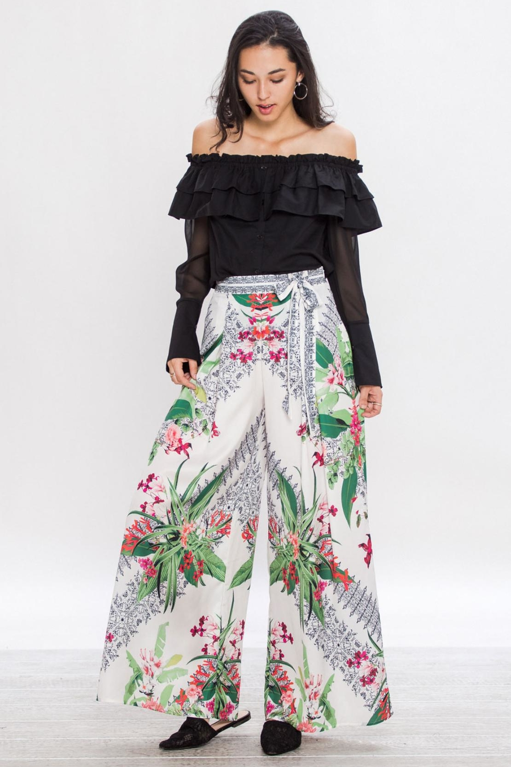 Jealous Tomato Wrap Flowing Pants - Side Cropped Image