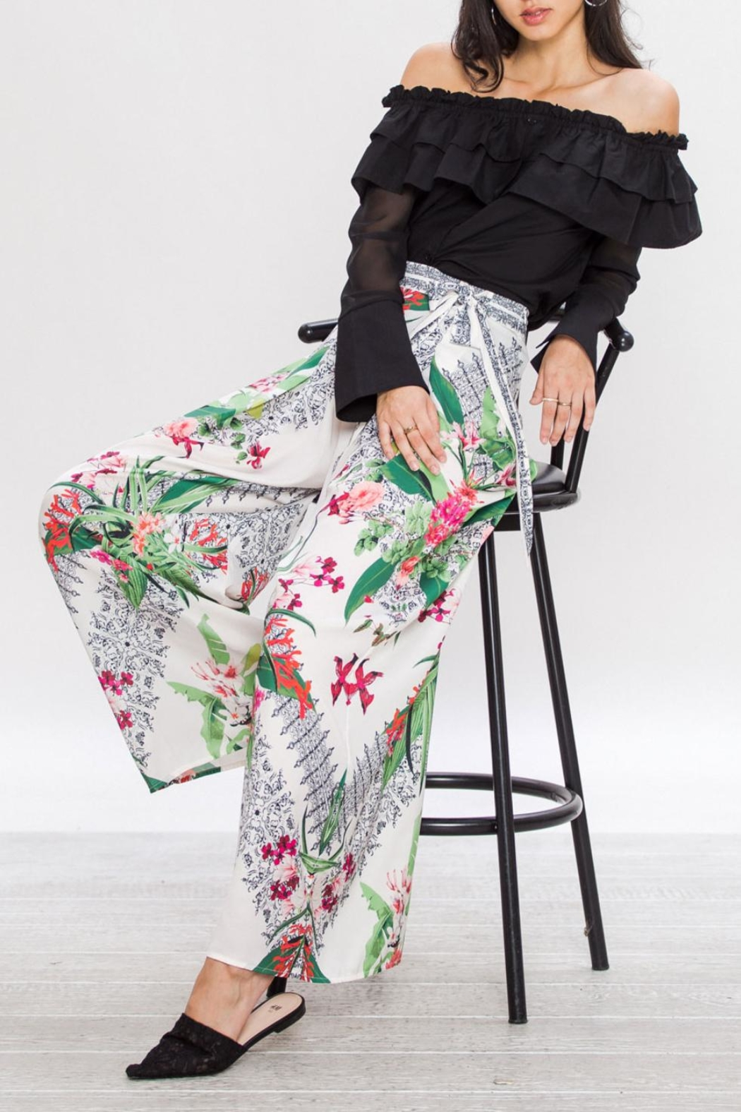 Jealous Tomato Wrap Flowing Pants - Back Cropped Image