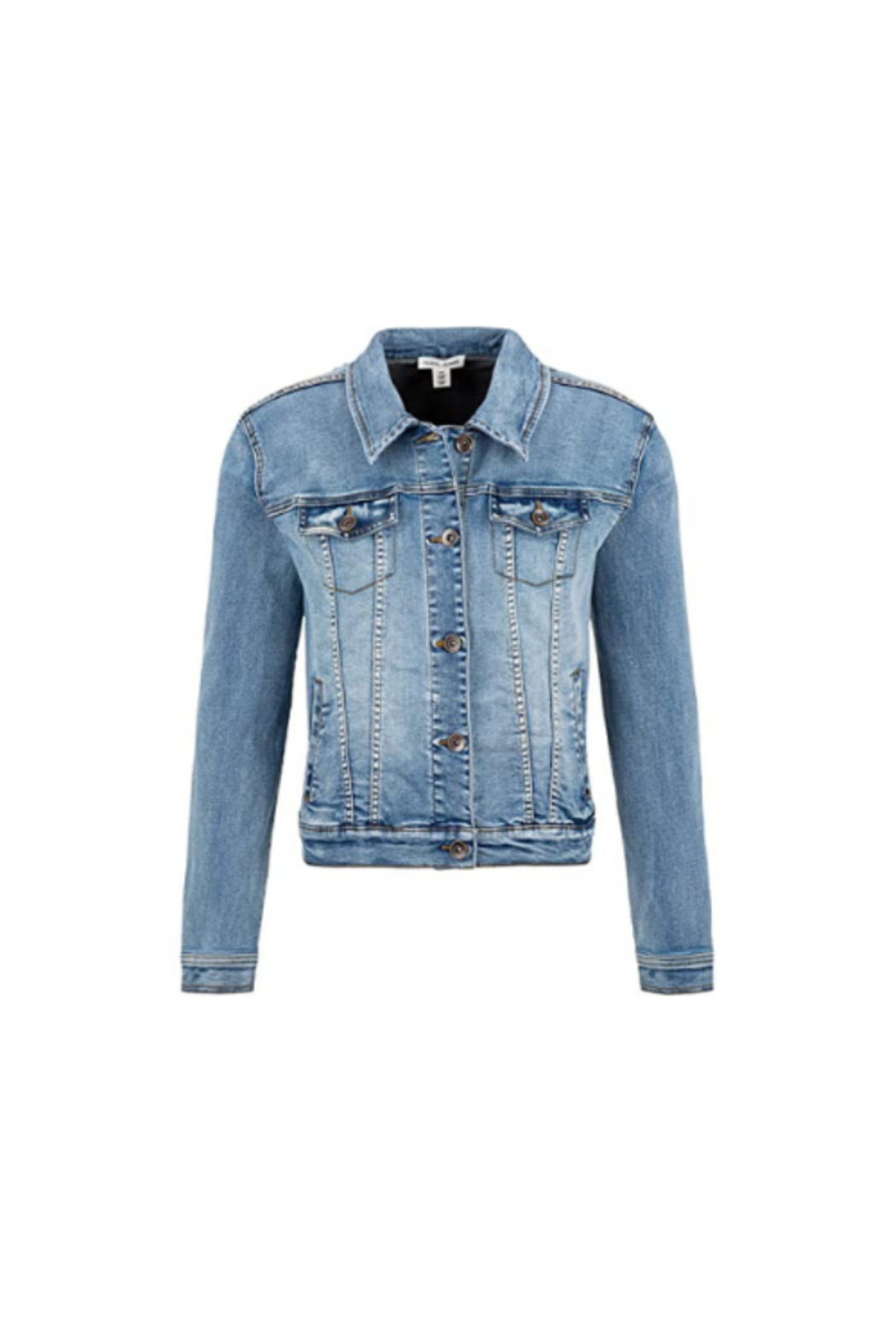 Tribal  Jean Jacket with Removable Faux Fur Collar - Front Full Image