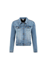 Tribal  Jean Jacket with Removable Faux Fur Collar - Front full body