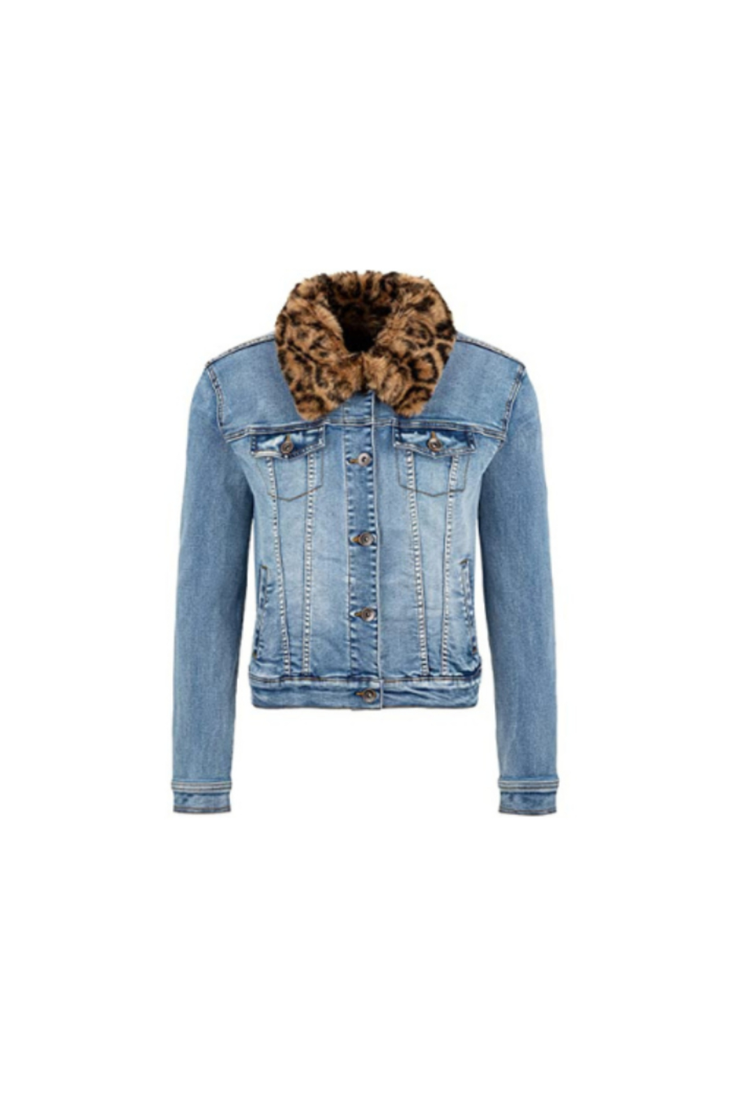 Tribal  Jean Jacket with Removable Faux Fur Collar - Main Image