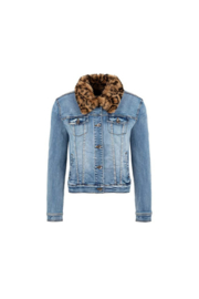 Tribal  Jean Jacket with Removable Faux Fur Collar - Product Mini Image