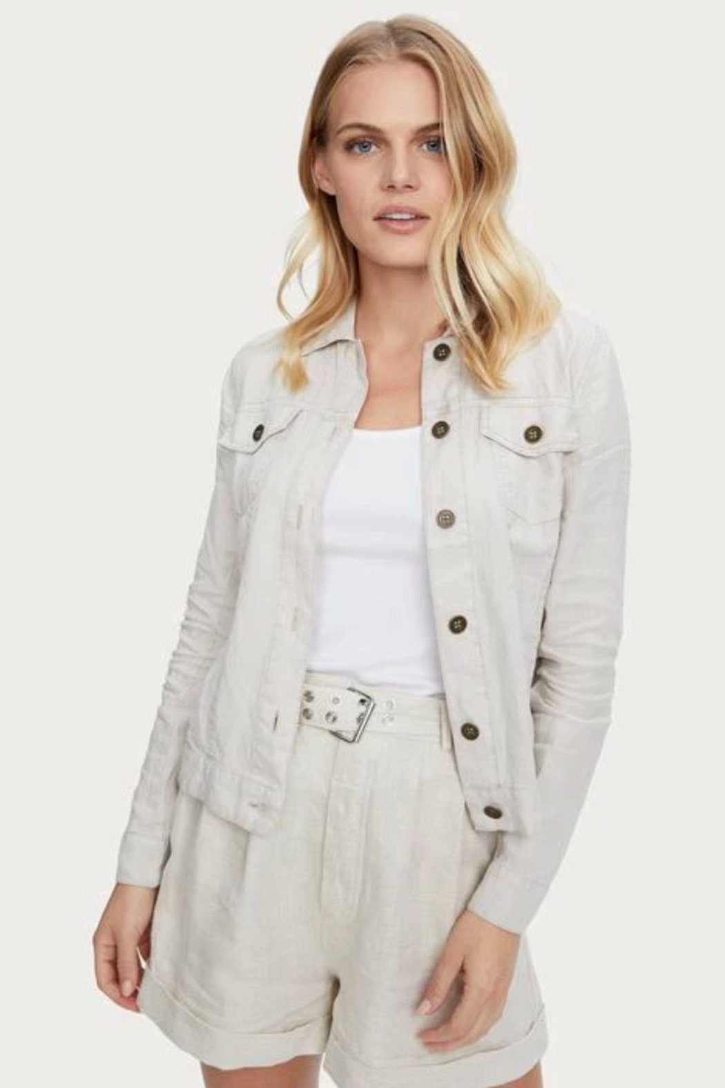 Michael Stars Jean Linen Jacket - Front Cropped Image