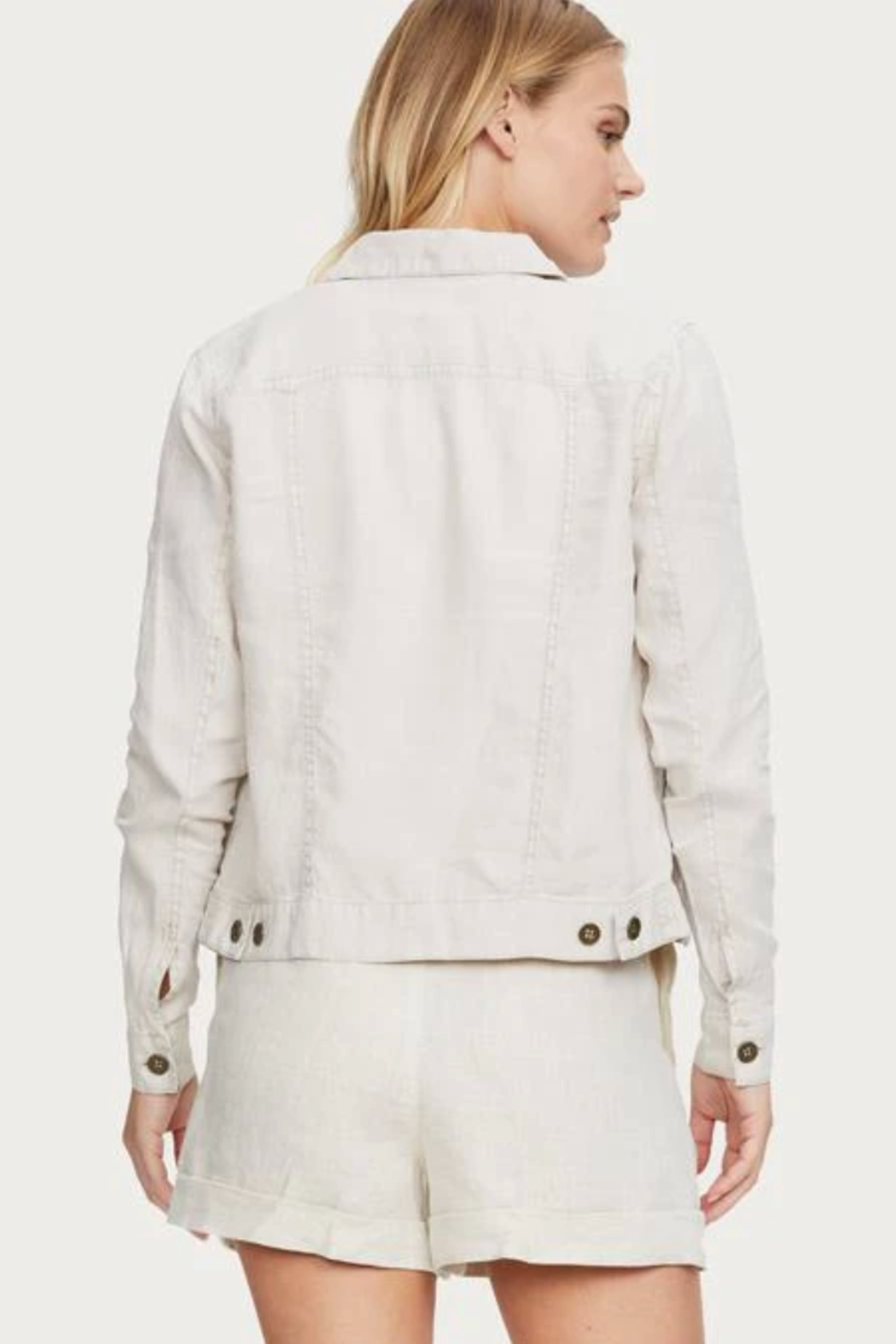 Michael Stars Jean Linen Jacket - Back Cropped Image