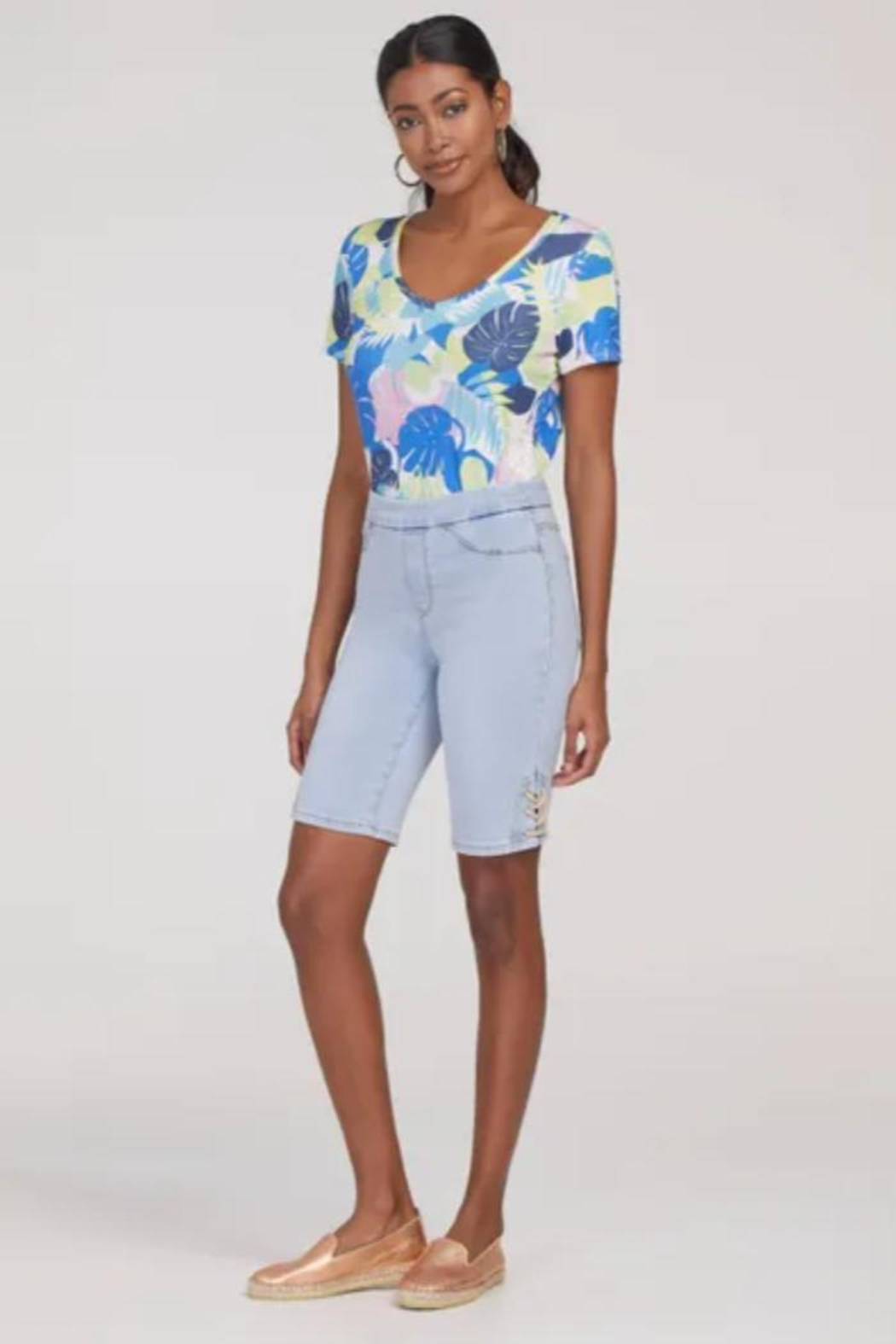 Tribal Jeans Jean Shorts with Side Laces - Main Image