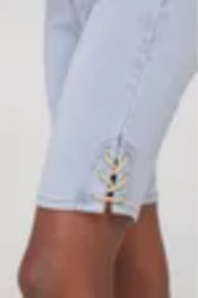 Tribal Jeans Jean Shorts with Side Laces - Front cropped
