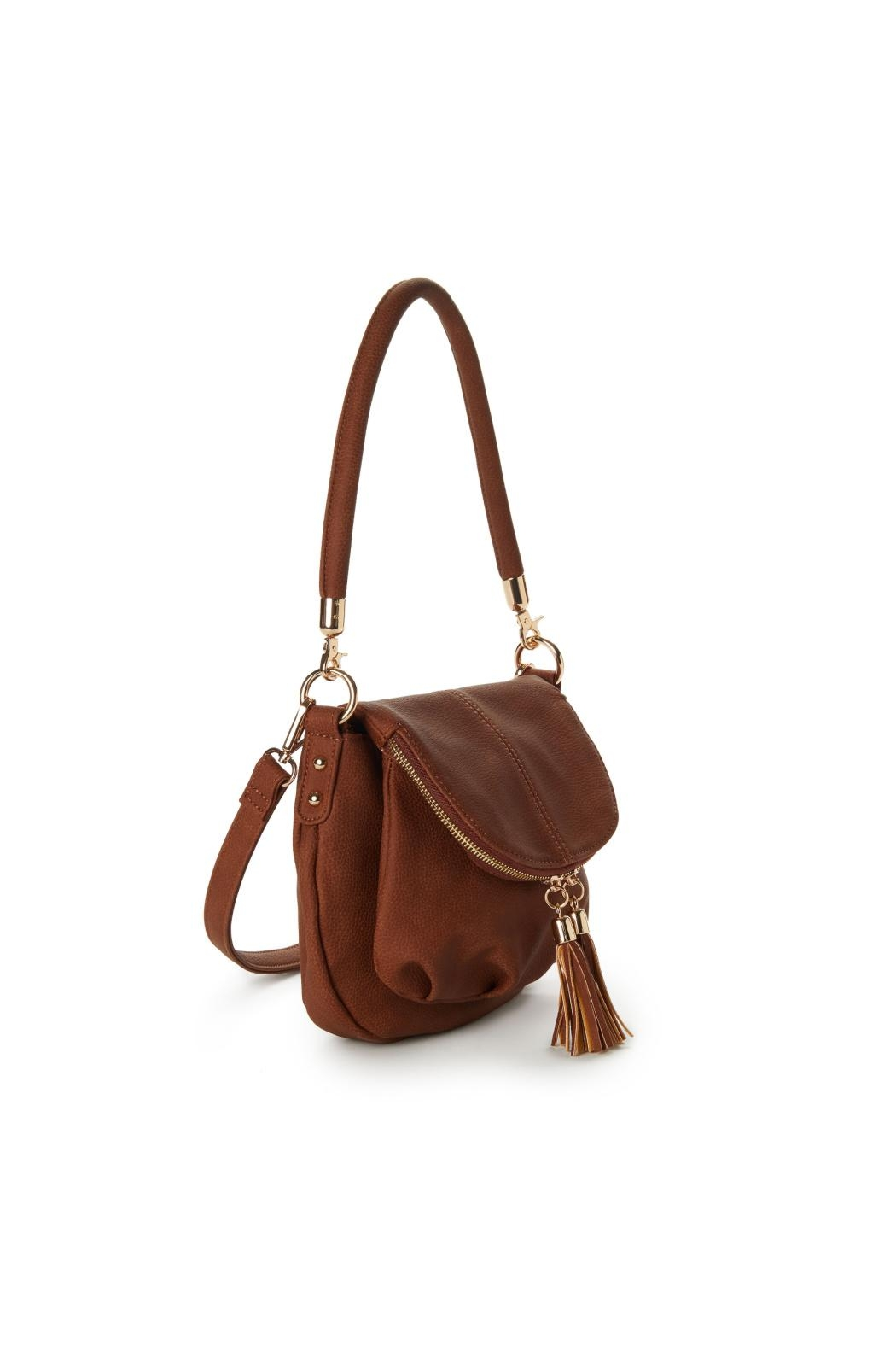 Jeane & Jax Brianna Zip Flap Crossbody - Chestnut - Side Cropped Image