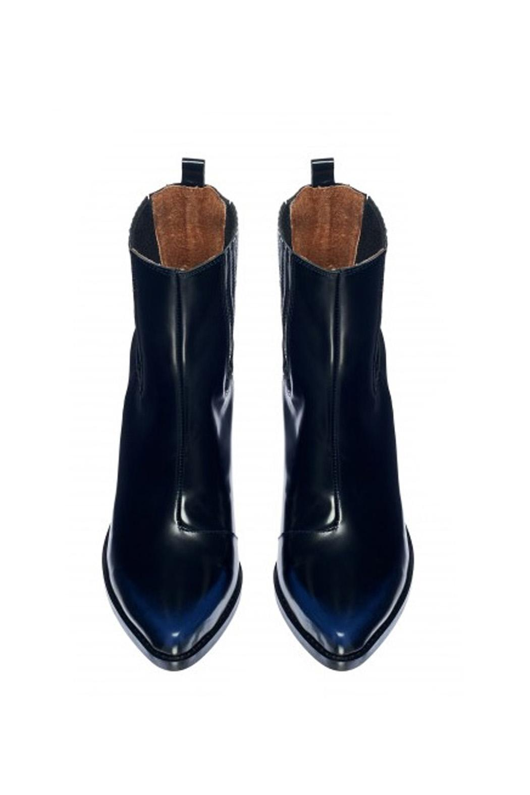 Jeffrey Campbell Black-Navy Western Boot - Side Cropped Image