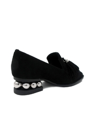 Jeffrey Campbell Black Suede Loafer - Front full body
