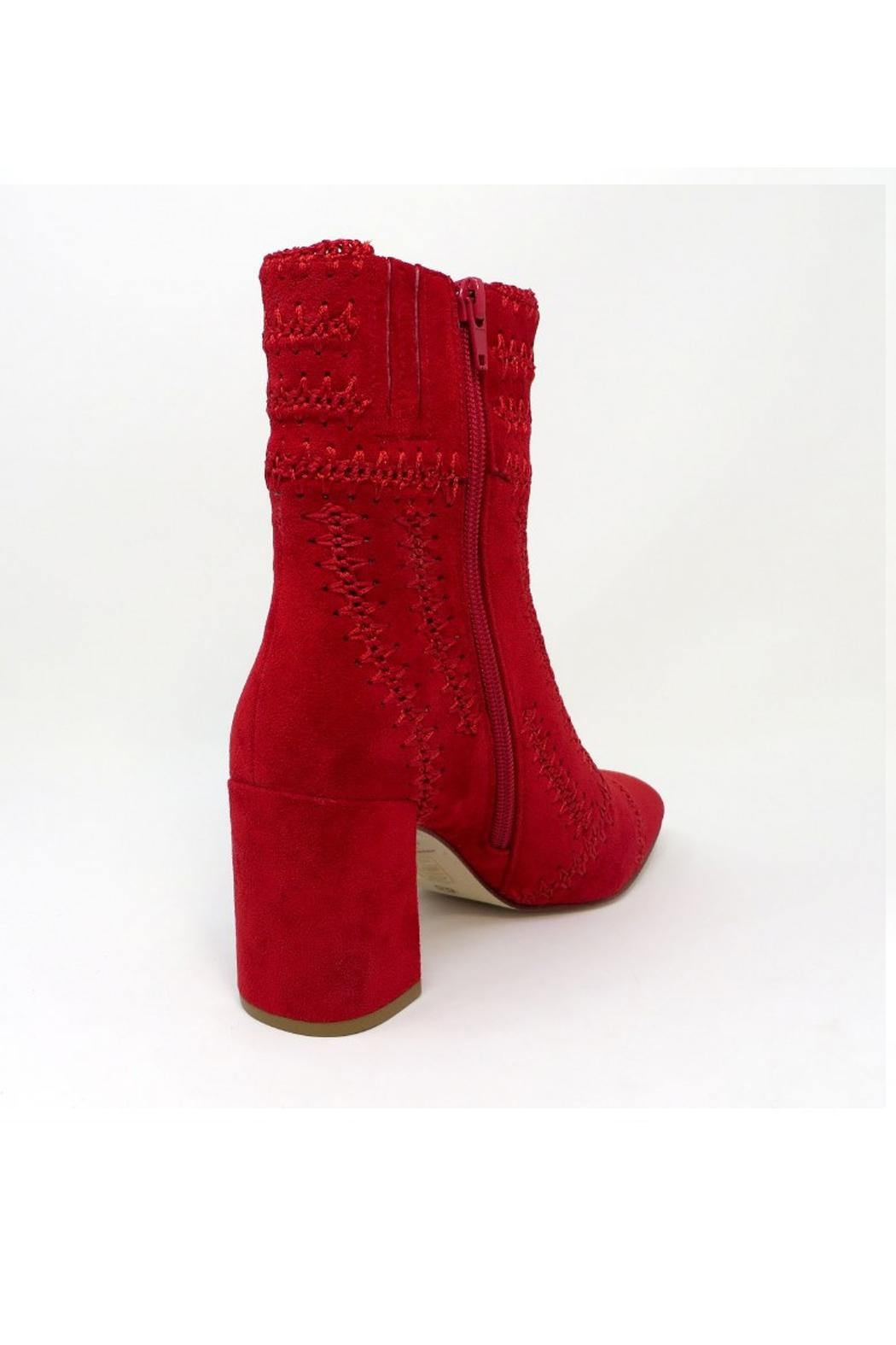 Jeffrey Campbell Red Suede Bootie - Front Full Image