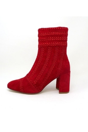 Jeffrey Campbell Red Suede Bootie - Front cropped