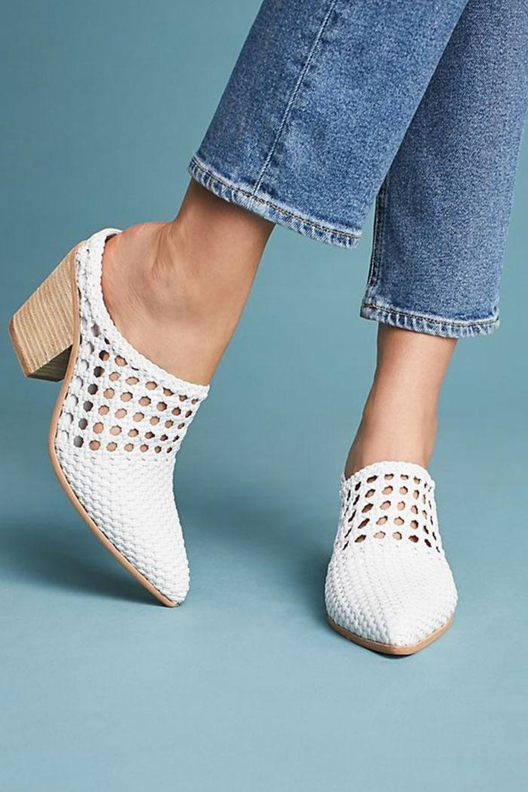 Jeffrey Campbell White Woven Mule - Back Cropped Image