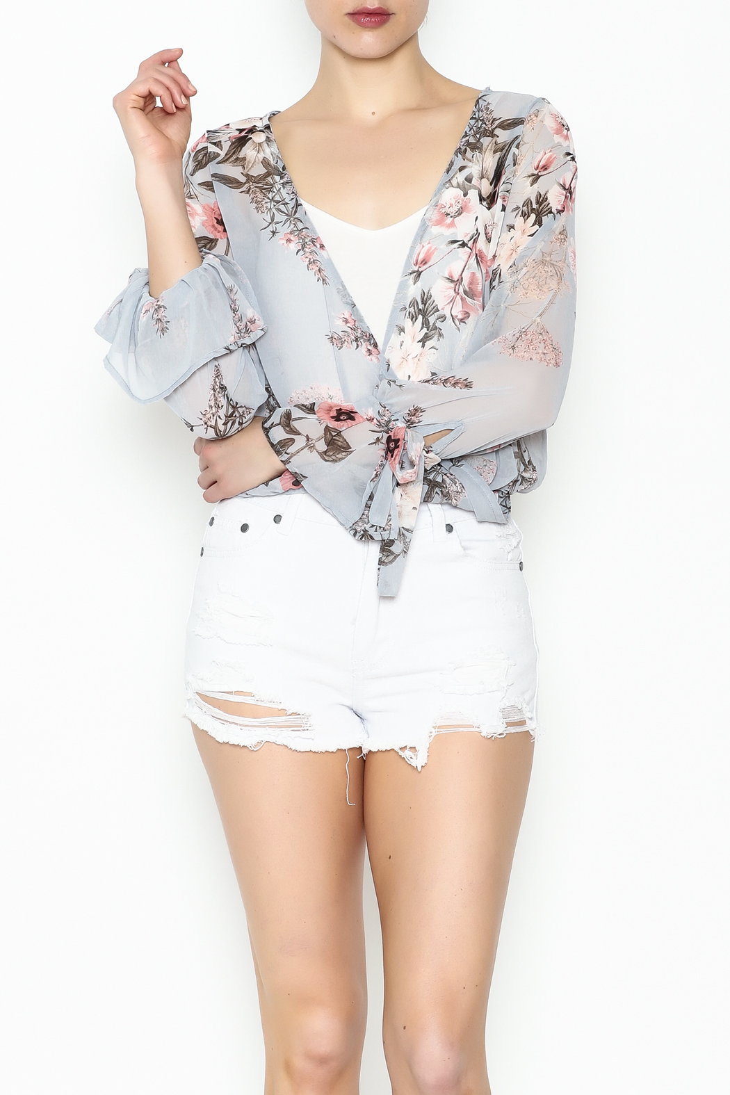 jella c Floral Print Top - Front Cropped Image