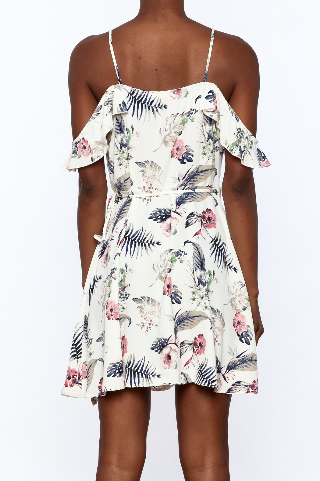 Jella Couture Floral Wrap Dress - Back Cropped Image