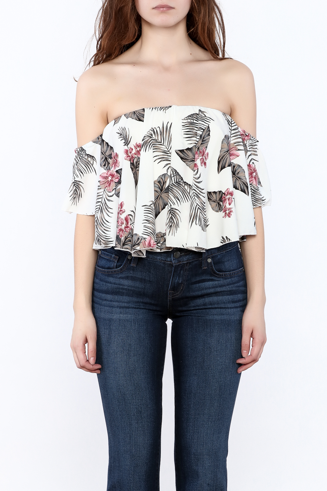 Jella Couture Leaf Print Crop Top - Side Cropped Image