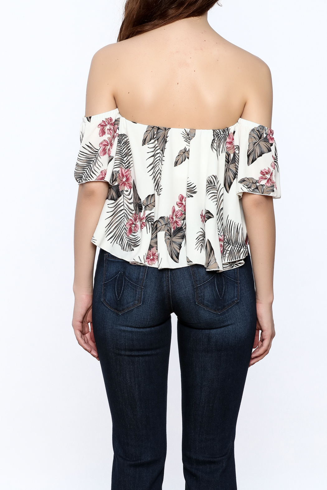 Jella Couture Leaf Print Crop Top - Back Cropped Image